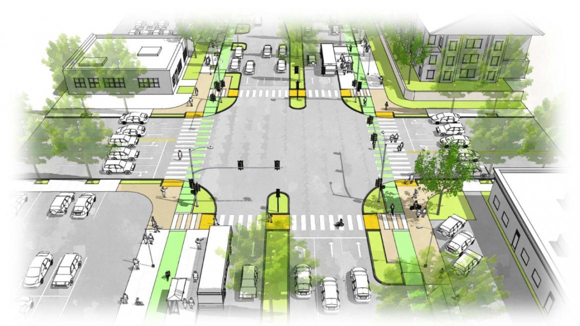 Rendering of Bascom Complete Streets Study design