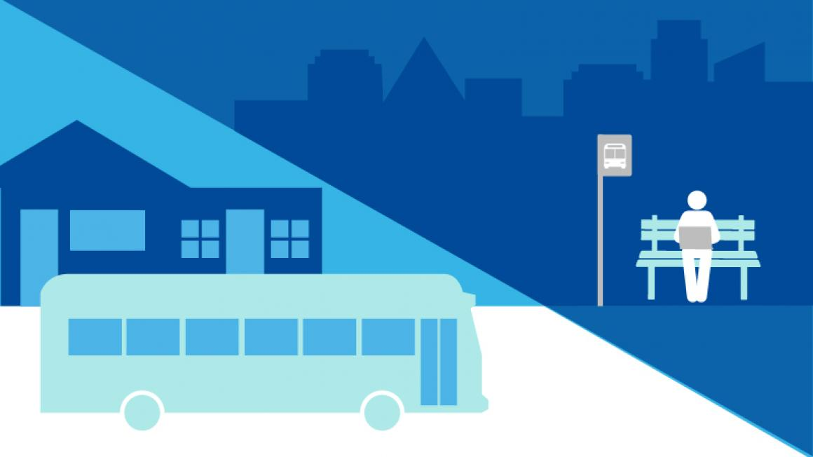 Decorative graphic representing transit oriented development, showing buildings, a bus, and a person waiting at a bus stop