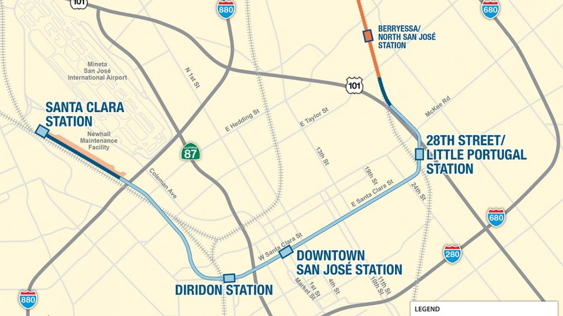 Map of VTA's BART Phase II alignment