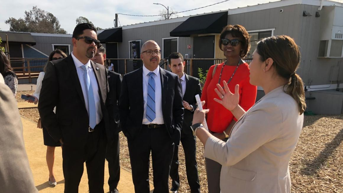VTA General Manger Nuria Fernandez tours Bridge Housing Community
