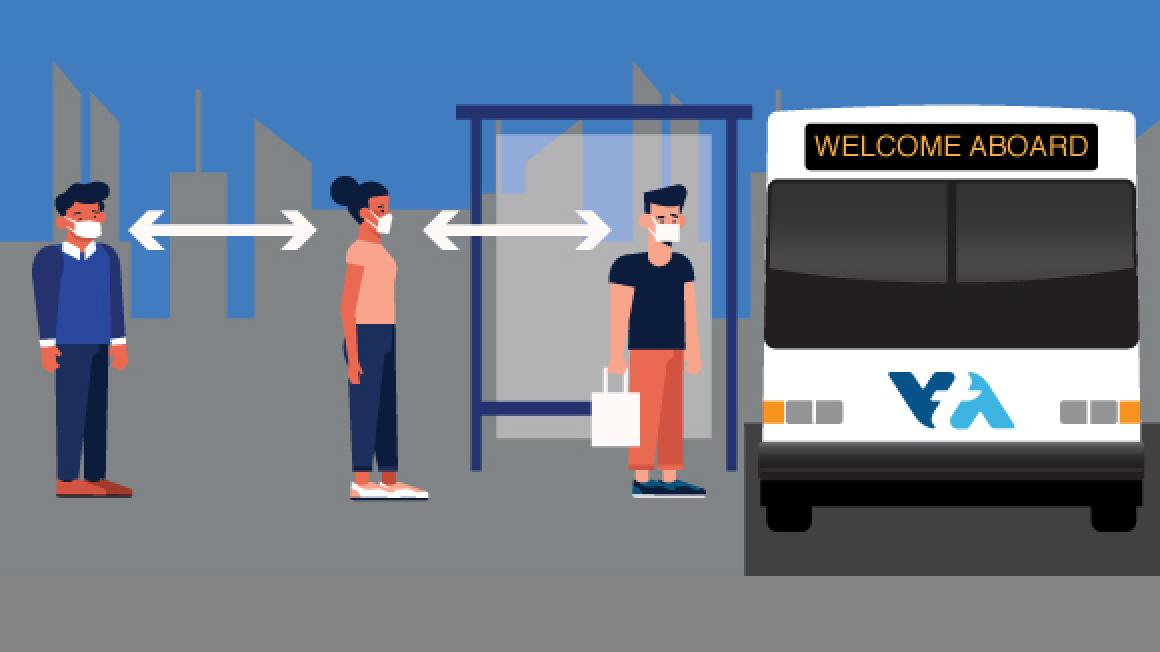 graphic illustration of people maintaining social distancing while waiting for a bus