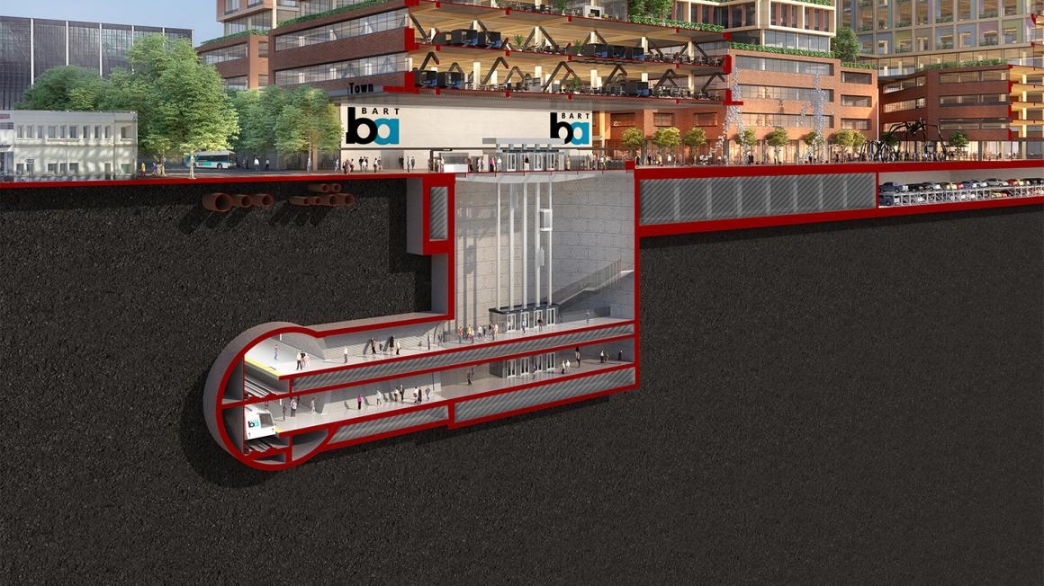 rendering of BART Phase II downtown underground station