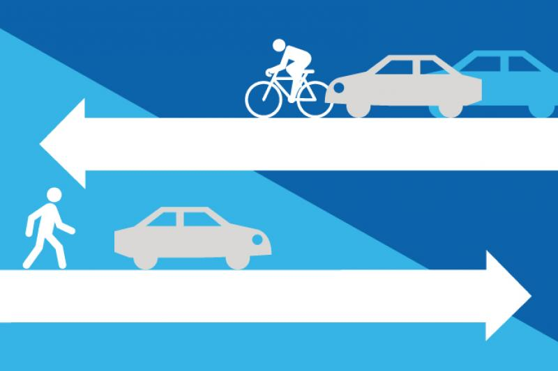 Decorative graphic of arrows pointing in different directions with cars, cyclists and a person walking, representing local roads and streets