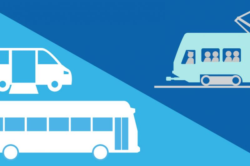 Decorative graphic representing transit showing a bus, light rail train, and paratransit van