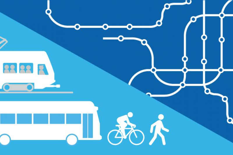 Decorative graphic representing a transportation plan, showing a light rail train, bus, cyclist, pedestrian, and lines representing streets and transit routes