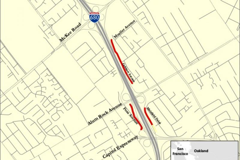Map of I-680 Soundwall area between Mueller Avenue and Capitol Expressway
