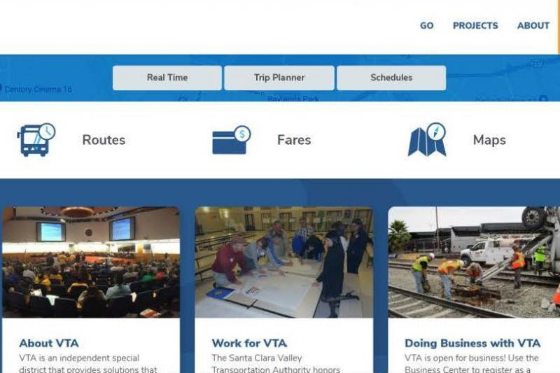 new VTA website homepage