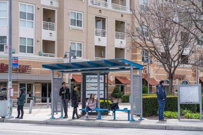 Upgraded bus shelter in Cupertino