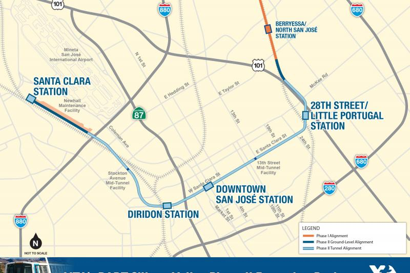 Map of VTA's BART Silicon Valley Phase II Project with four stations at 28th Street/Little Portugal, Downtown San Jose, Diridon, and Santa Clara