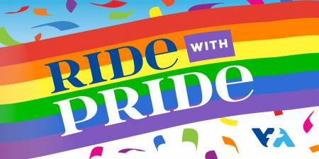 ride with pride slogan in a rainbow