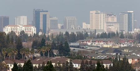 san jose skyline with smog
