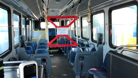 interior of bus showing taped off area