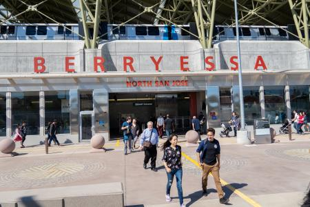 Pedestrians arrive and leave Berryessa Transit Center