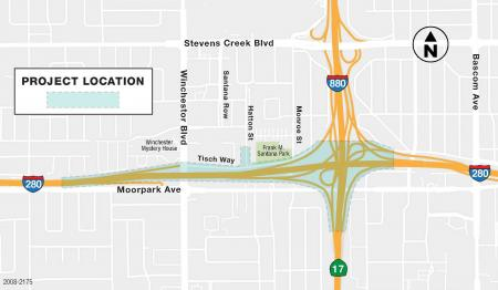 Map of Project Area (I-280, Winchester Blvd, Tisch Way, Moorpark Ave.)