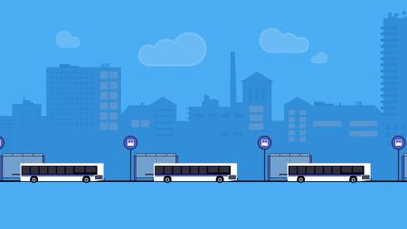 Graphic showing three buses lined up