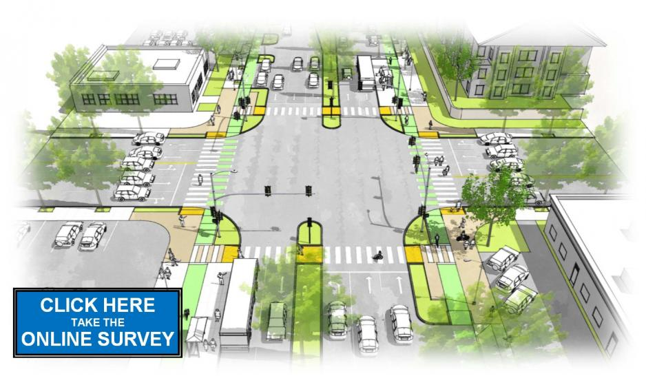 Graphic showing rendering of Bascom Complete Streets Corridor with prompt to click to complete survey