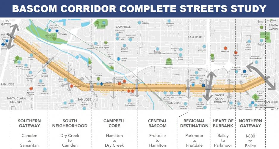Map showing the segments of the Bascom Avenue Complete Streets Study corridor