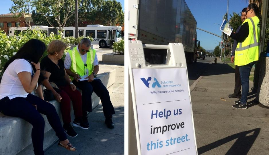 Photos showing VTA staff gathering public input in Story-Keyes corridor