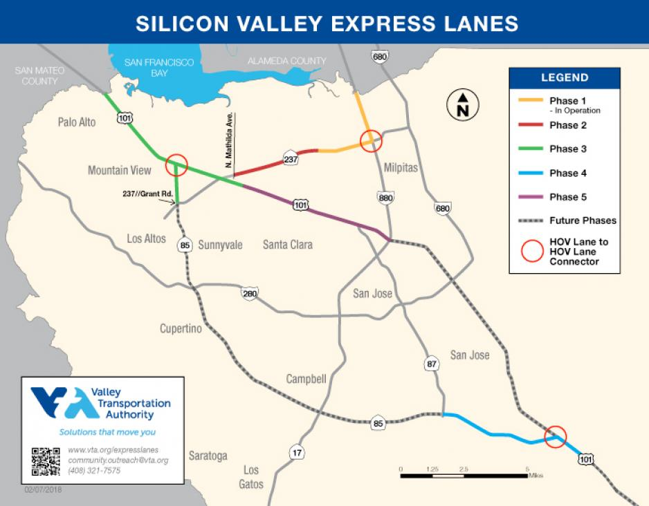 Map of current and future Silicon Valley Express Lanes