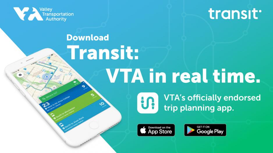 Graphic showing an iPhone with Transit app running and tagline Transit: VTA in real time, Download graphics and Transit and VTA logos
