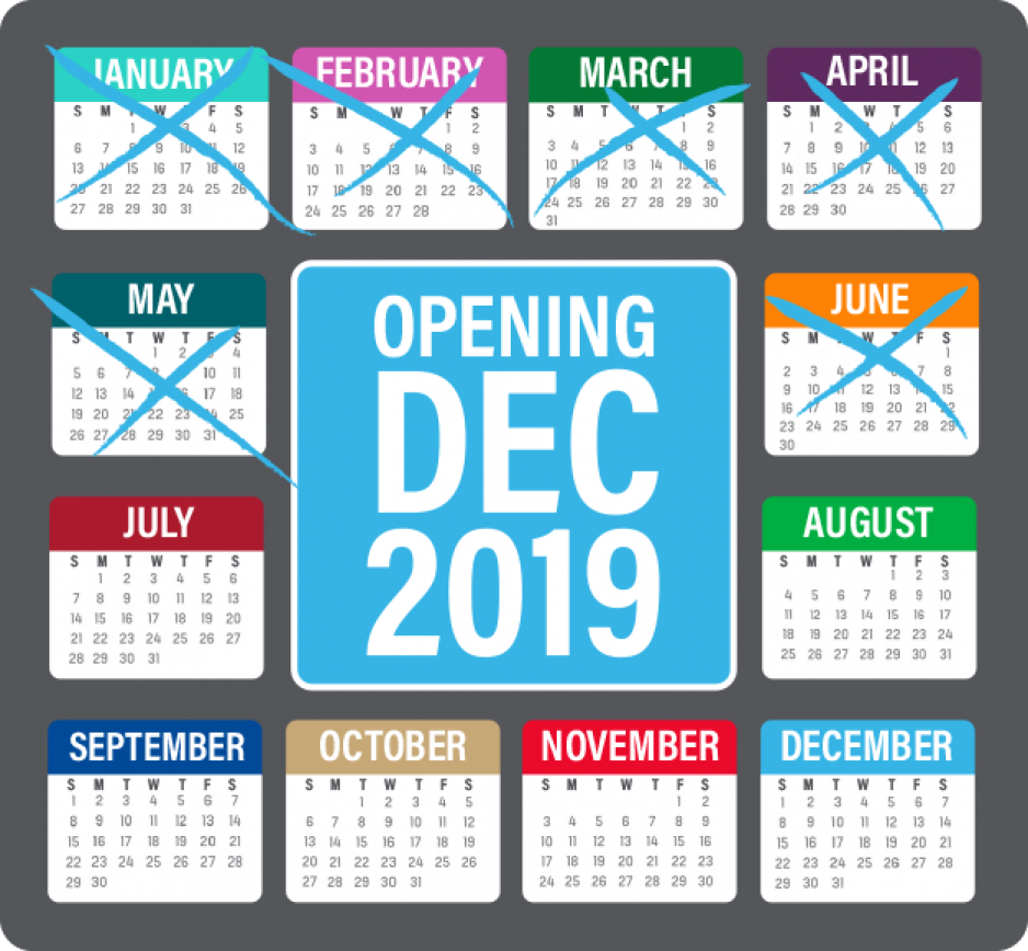 A 2019 calendar checking off the months until BART Phase I is planning to open by December 2019
