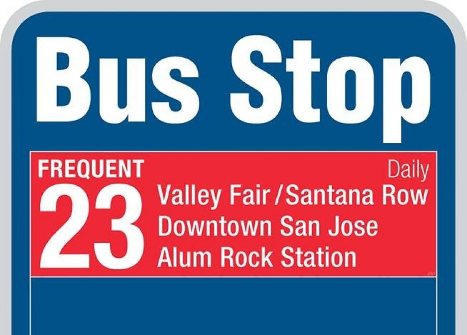 new bus stop sign design with red route 23 banner