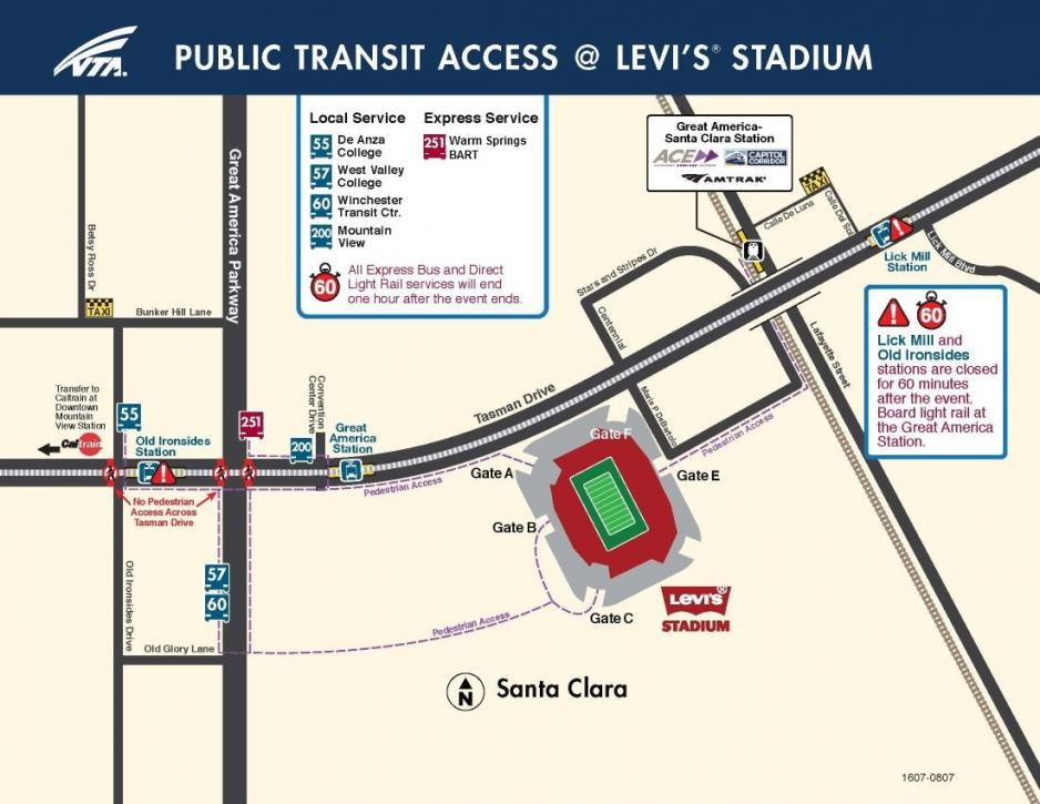 Map showing locations of bus stops and light rail stations near Levi's Stadium