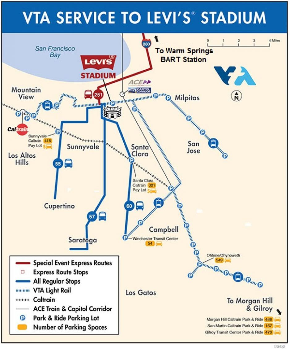 Map showing bus and light rail service to Levi's Stadium for special events