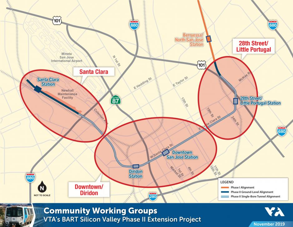 Map of VTA's BART Phase II Community Working Groups