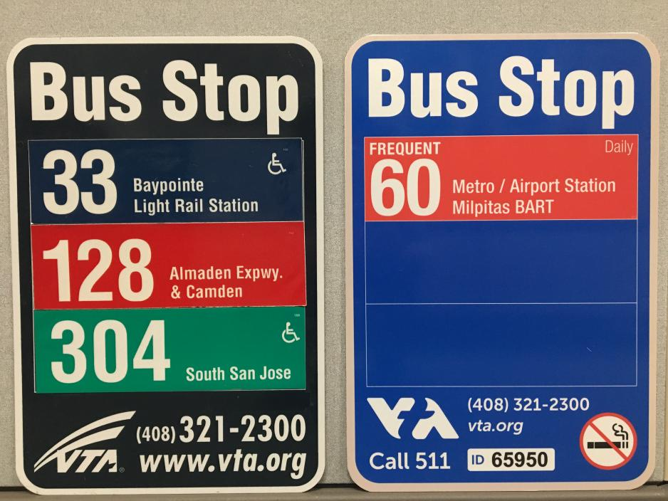 old and new VTA bus stop signs