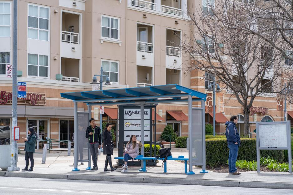 Image of new bus shelter in Cupertino. Also has posted maps and route info.