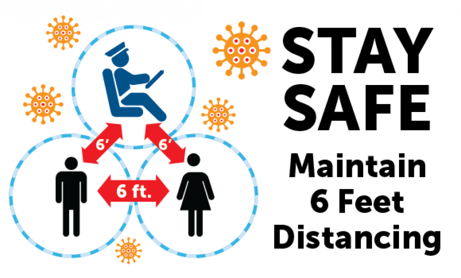 Graphic showing icons of a bus driver, man and woman with 6 FT and arrows between each, indicating the need to maintain 6 feet of social distancing to prevent the spread of COVID-19. Stay Safe Maintain 6 Feet Distancing
