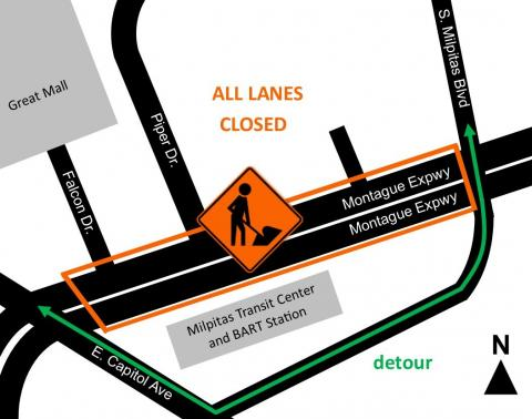 map of lane closure on Montague Express way between south Milpitas boulevard and Great Mall Pkwy/Capitol Ave
