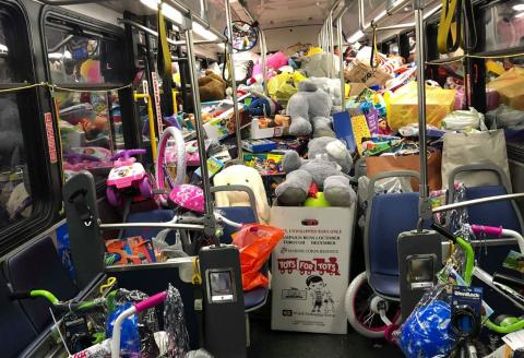 Bus stuffed with donated toys